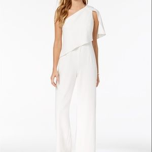 Adrianna Papell Draped One-Shoulder Jumpsuit Ivory